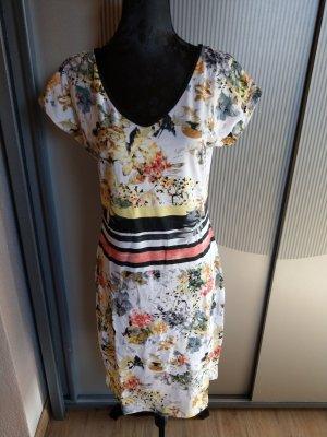 Kleid Stoffkleid weiß orange Blumen Cosima