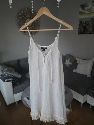 Kleid Strandkleid Fransen weiß blogger hipster boho S Schnürung