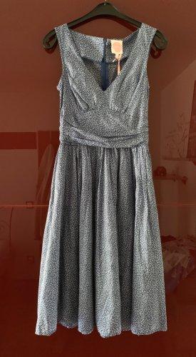 Petticoat Dress cornflower blue-natural white cotton
