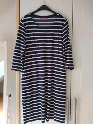 Kleid Sweatshirtkleid dunkelblau-weiß-gestreift Größe 42