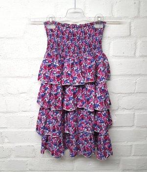 Kleid Trägerlos Pink Blau Blumenmuster Volant Gr. M