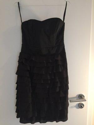 Kleid trägerlos Rüschen schwarz