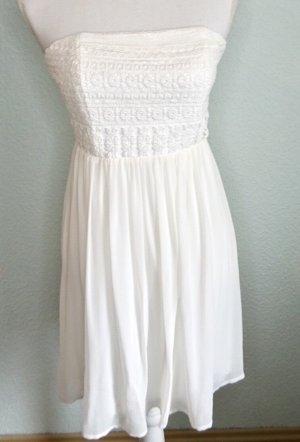 Kleid, trägerlos, weiß, Spitze aus Baumwolle M / 38