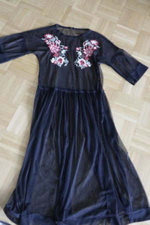 Kleid transparent Mesh Blumen Zara