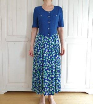 Kleid True Vintage Oversize S 36 blau grün maxikleid maxirock Sommerkleid Sommer weiß Blumen dress Pullover