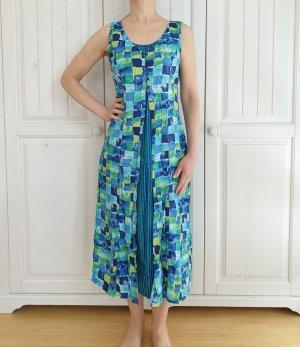 Kleid True Vintage Oversize S Xs blau grün folia kariert gestreift Sommerkleid Sommer Rock dress