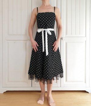 Kleid True Vintage Oversize XS 34 Sommerkleid Sommer weiß schwarz punkte polka dots polkadots dress