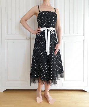 Kleid True Vintage Oversize XS 34 Sommerkleid weiß schwarz punkte polkadot dress rock abendkleid pulli pullover