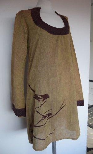 Kleid Tunika aus Naturfaser Bio Öko mit Vogelmotiv Hippie Goa - neu 40/42