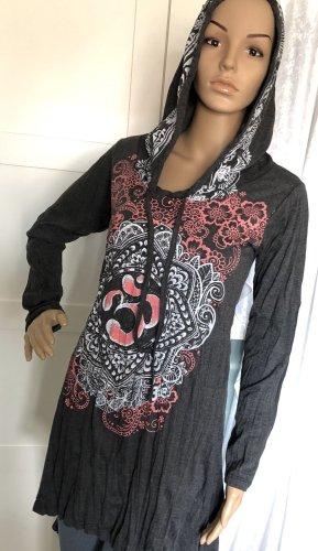 Kleid Tunika Baumwolle anthrazit Om Symbol Lotusblüte Gr. S/M Longsleeve