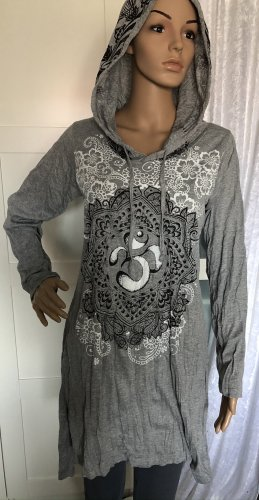 Kleid Tunika Baumwolle grau Om Symbol Lotusblüte Paisley Gr. S/M Longsleeve Kapuze