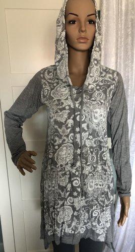 Kleid Tunika Baumwolle grau Paisley Lotusblüte Om Symbol weiß Gr.S/M Longsleeve Kapuze