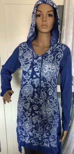 Kleid Tunika Baumwolle stahlblau Om Symbol Lotusblüte Paisley weiß Gr.S/M Longsleeve