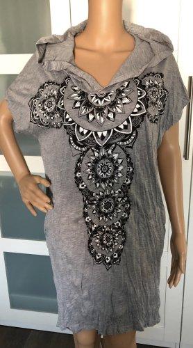 Kleid Tunika grau Baumwolle Maori Kreise Boho Ethno Einheitsgröße S-XL