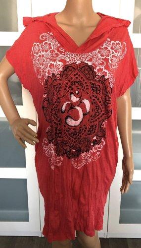 Kleid Tunika großes Symbol Lotusblüte hellrot Baumwolle Boho Ethno Design Einheitsgröße