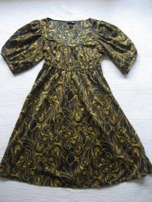 H&M Vestido babydoll negro-color oro