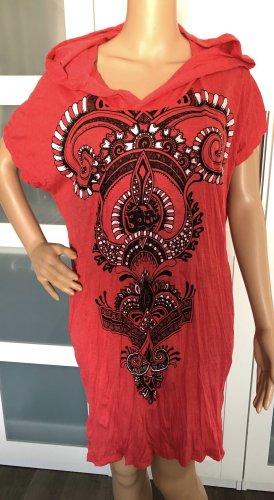 Kleid Tunika hellrot Baumwolle Maori Om Symbol Spiralen Einheitsgröße Gr.S-XL