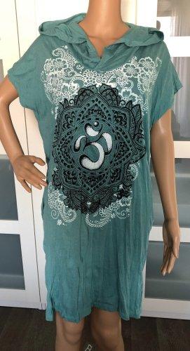 Kleid Tunika kadettblau Baumwolle großes Om Symbol Lotusblüte Boho Ethno Einheitsgröße
