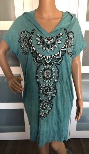 Kleid Tunika kadettblau Baumwolle Maori Kreise Boho Ethno Design Einheitsgröße Gr.S-XL