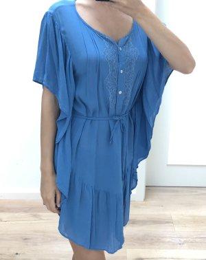 Kleid Tunika Kaftan Sommerkleid Strandkleid Blau Viskose