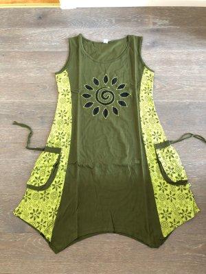 Kleid Tunika khaki limone schwarz Baumwolle Gr XL