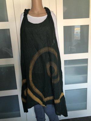 Kleid Tunika Lagenlook dunkelgrün Spirale goldorange Gr. S-XXL