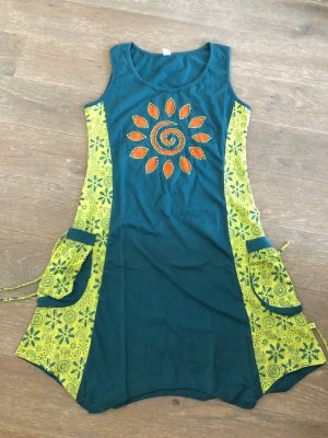 Kleid Tunika petrol limone Baumwolle Gr. L