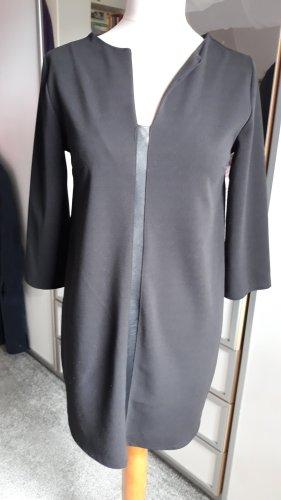 Kleid Tunika Schwarz mit Ledereinsatz