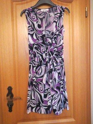 Kleid, V-Ausschnitt, neu, schwarz-lila