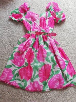 Original Vintage Sukienka typu babydoll biały-różowy