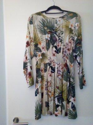 Kleid Viskose 40/42 Tropisch Papagei Flora Fauna Boho Blogger Hippie Natur Palme weich und leicht