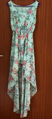 Kleid Vokuhila Blumenmuster Sommerkleid Mint Blau Rosa Gr. 34 36 S
