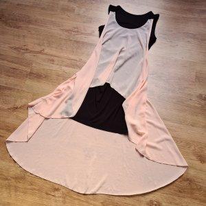 Kleid Vokuhila Made in Italy 34 36 XS S schwarz rose stretch Chiffon