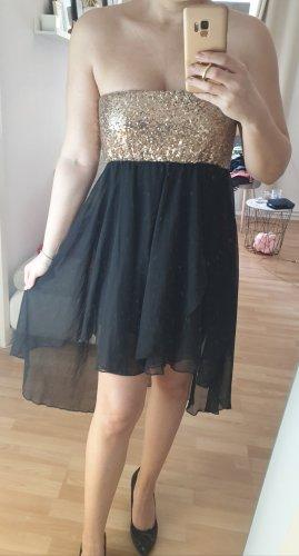 Kleid vokuhila schwarz gold Pailletten Bandeau S/M Hochzeit Abschlussball