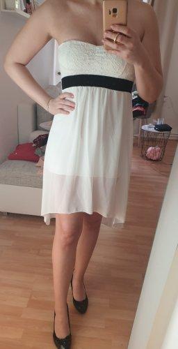 Kleid vokuhila weiß/creme Bandeau S/M