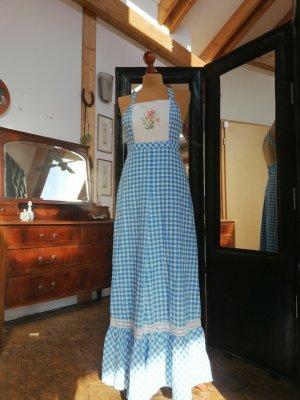 Robe Hippie bleu azur-blanc coton