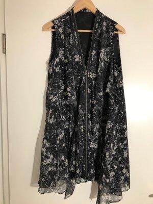 Kleid von AllSaints, schwarz/weiß/grau Florales Muster Gr. M