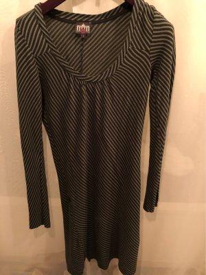 Ato-Berlin Robe à manches longues noir-vert clair