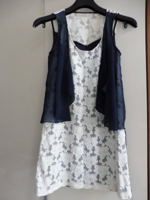 Anna Aura Dress white-dark blue polyester