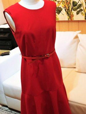 Calvin Klein Sukienka midi czerwony Tkanina z mieszanych włókien
