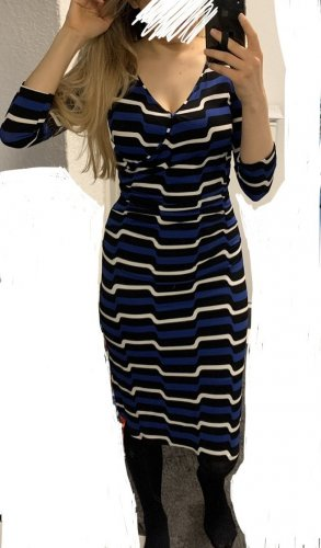 Kleid von Claudia Sträter weiß blau Gr. 36 Gr. S mit Raffung