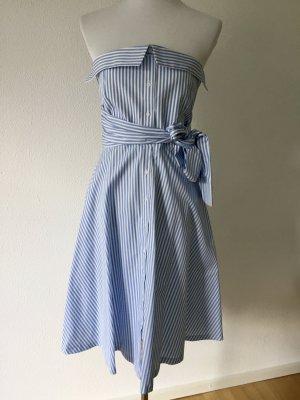 Claudie Pierlot Robe bandeau blanc-bleu azur coton