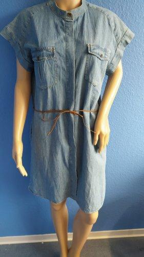 Colins Shortsleeve Dress azure-brown cotton