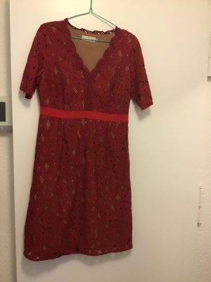Cream Shortsleeve Dress nude-dark red