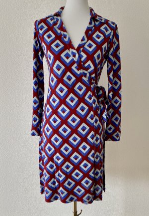 Diane von Furstenberg Robe portefeuille rouge brique-bleu acier soie