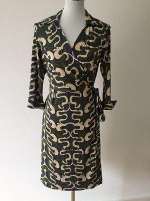 Diane von Furstenberg Robe portefeuille vert foncé-bleu acier
