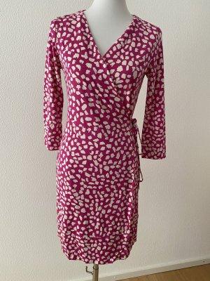 Diane von Furstenberg Robe portefeuille rose fluo-blanc soie