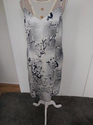 Kleid von Escada Größe 42 weiß schwarz Blumenmuster
