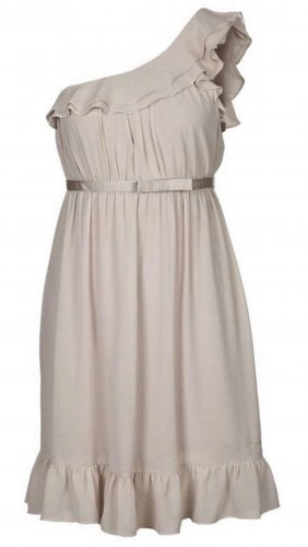 Fornarina One Shoulder Dress cream