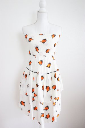 Kleid von GANNI, Gr. 36, weß-orange, flowerprint
